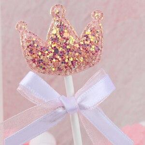 Image 5 - 5 stks/partij roze ster hart kroon verjaardag cake topper cupcake decoratie baby shower kids verjaardagsfeestje bruiloft gunst benodigdheden