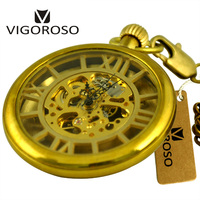 Antique Véritable Cuivre 3D Chiffres Romains Squelette Ouvert Visage Main Mécanique Vent FOB Chaîne Horloge Hommes Montre De Poche Cadeaux De Luxe