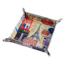 LINKWELL, 1 unidad, estampilla Retro de la Torre Eiffel de la ciudad de París, cuero de PU para hombre, monedero, monedero, caja de monedas, bandeja de almacenamiento, Valet