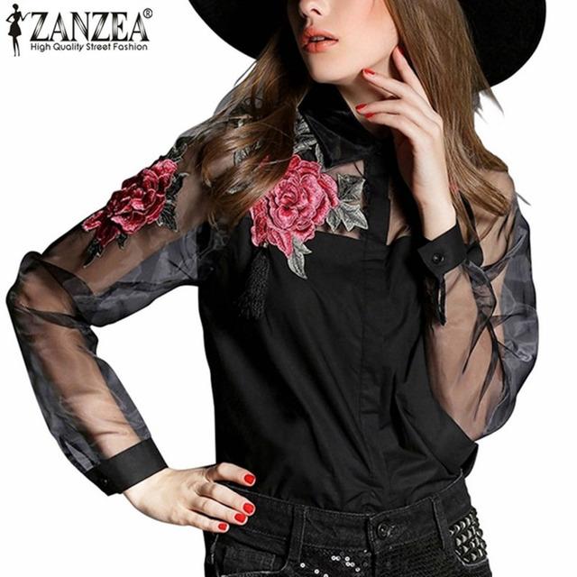 Elegant Women Blouse Flower Embroidery Vintage Shirt