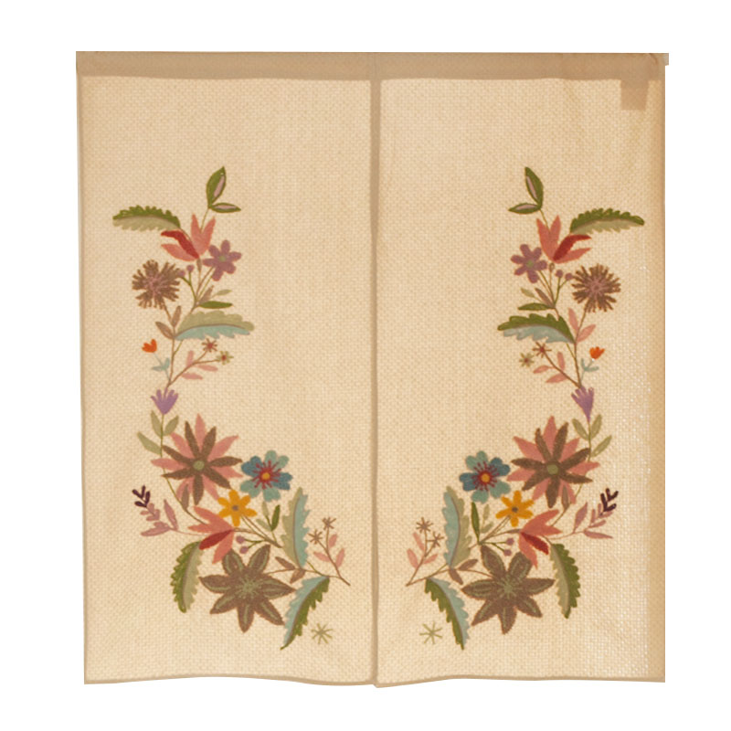NEW! Pastoral Style Handmade Emroidery Beautiful Door Curtain Fresh Colorful Flowers Pattern 100% Cotton Room Partition/Divider