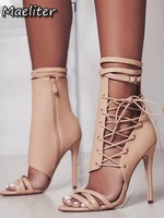 Roman Buckle Cross Strap Shoes Stiletto Heel Women Sandals sexy Gladiator Lace up peep toe sandals high heels Woman Ankle bootie