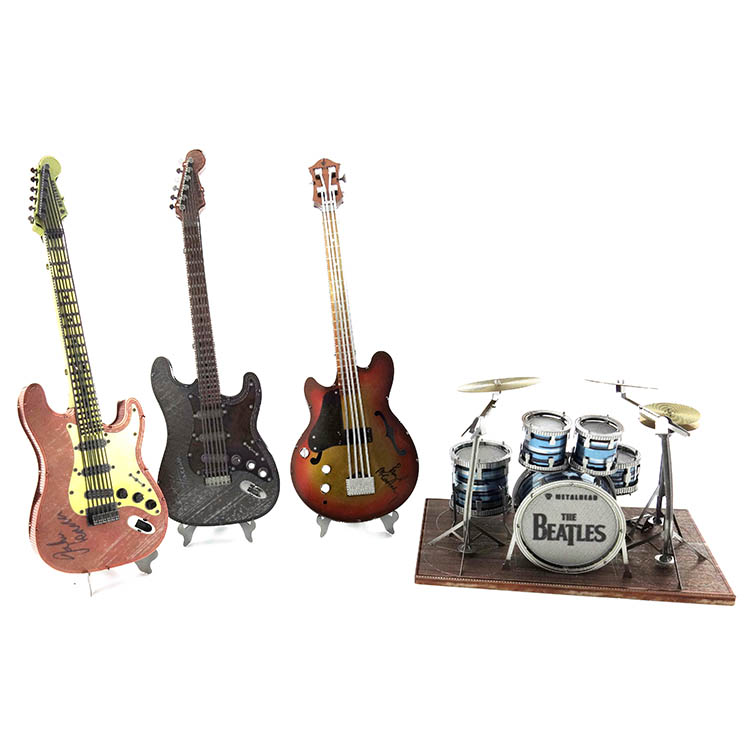 Beatles Timeless Classic Color Puzzle 3D Metal Assembly Model Guitar Bass Drum Kit Paul Collection Of