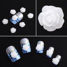 5x 20x Acrylic 3D White Flowers Nail Art Tips UV Gel DIY Decoration