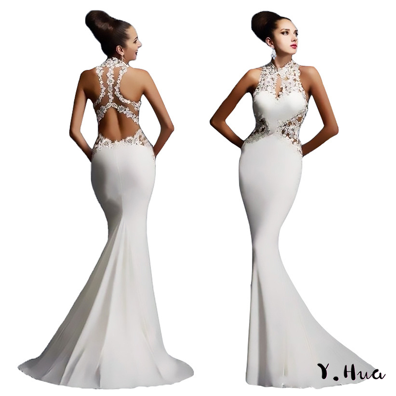 Evening     Dresses   Applique Stitching Sleeveless Sexy Mermaid   Dress   Backless Cut-out Package Hip Fishtail   Dresses   2019
