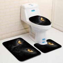 HomeMiYN Nuevo 2018 baño precioso gato negro 3 piezas impresión productos de baño tapa del inodoro tapa almohadillas Anti deslizamiento alfombras de baño