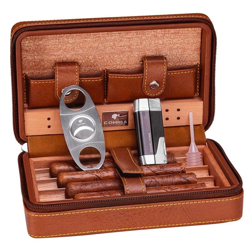 Étui à cigares de voyage en cuir Portable COHIBA cave à cigares doublée de bois de cèdre avec torche Jet allume-cigare en métal coupe-cigare HH-1040