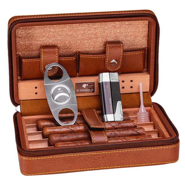 Black/Brown Leather Cedar Lined Cigar Case Humidor With Lighter Cutter  Humidifier Set HH-1040