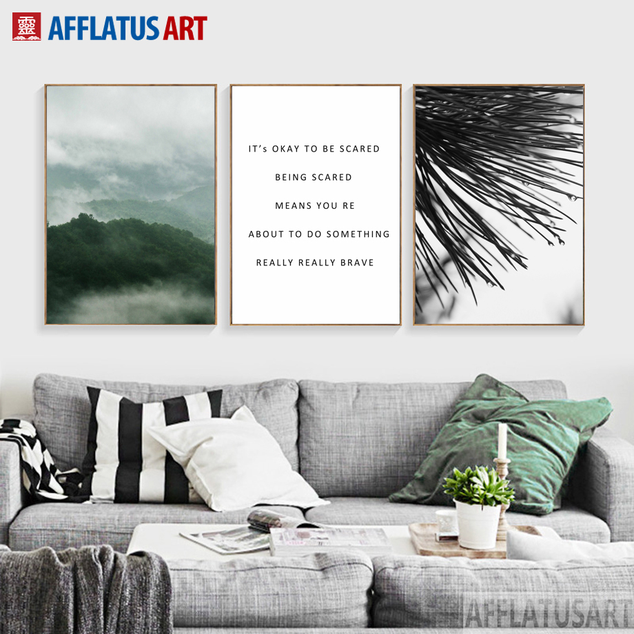 Mountain Landscape Branch Quotes Nordic Posters And Prints Wall Art Canvas Painting Wall Pictures For Living Room Pop Art Decor(China)