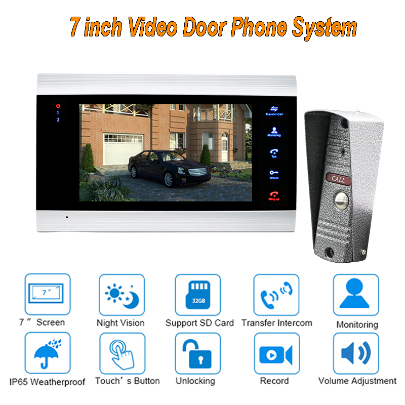 2017 Russia new 7 TFT  1200TVL Video Door Phone Doorbell Intercom System Home Security Camera Monitor with ip65 Rainproof