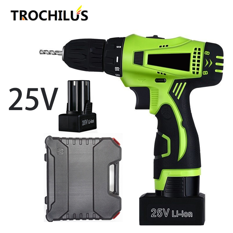25V cordless Screwdriver Multifunction Power Tools Mini  Rechargeable Screwdriver Screwdriver with Lithium Battery * 2 toolbox