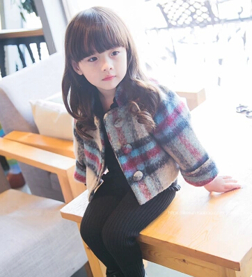 The New Children Cultivate one's Morality Plaid Wool Coat Female Children's Wear Single-breasted Cloth Short Coat