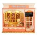 Diy casa de boneca em miniatura Kits modelo artesanal montagem aniversário brinquedo casa de bonecas de madeira casa presente doce