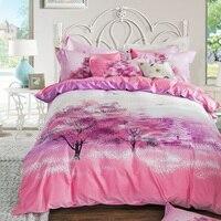 Árvores Da Flor De Cerejeira Sakura Rosa e Roxo Conjunto De Cama de Algodão impresso Têxteis Lar Colcha Tampa de Cama Roupa De Cama Queen Size Rei tamanho