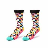 2016 New England Style Lattice Pattern Cotton Colorful High Socks Male Summer Fashion Vintage Women S