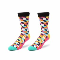 2016 New England Style Lattice Pattern Cotton Colorful High Socks Male Summer Fashion Vintage Women S