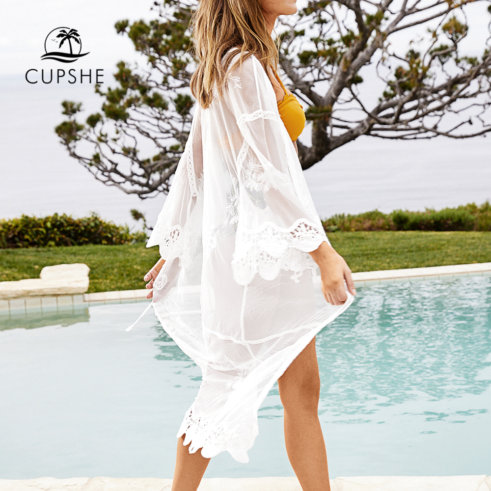 CUPSHE Sweet Honey White Scalloped Long Cover Up 2019 Women Sexy Lace Long Sleeve Bathing Dress