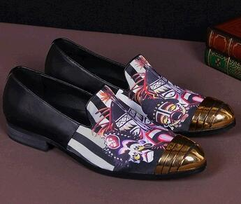 New Men Fashion Print Leather Flats Mens Designer Prom Dress Shoes