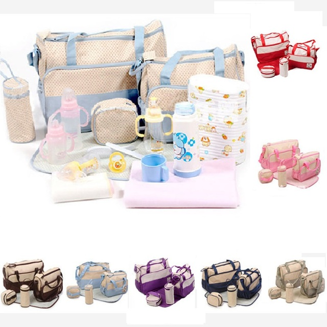 5PCS/Set High Quality Tote Baby Shoulder Diaper Bags Durable Nappy Bag mummy baby mom bags fashion multifunction Mom Bag 7colors