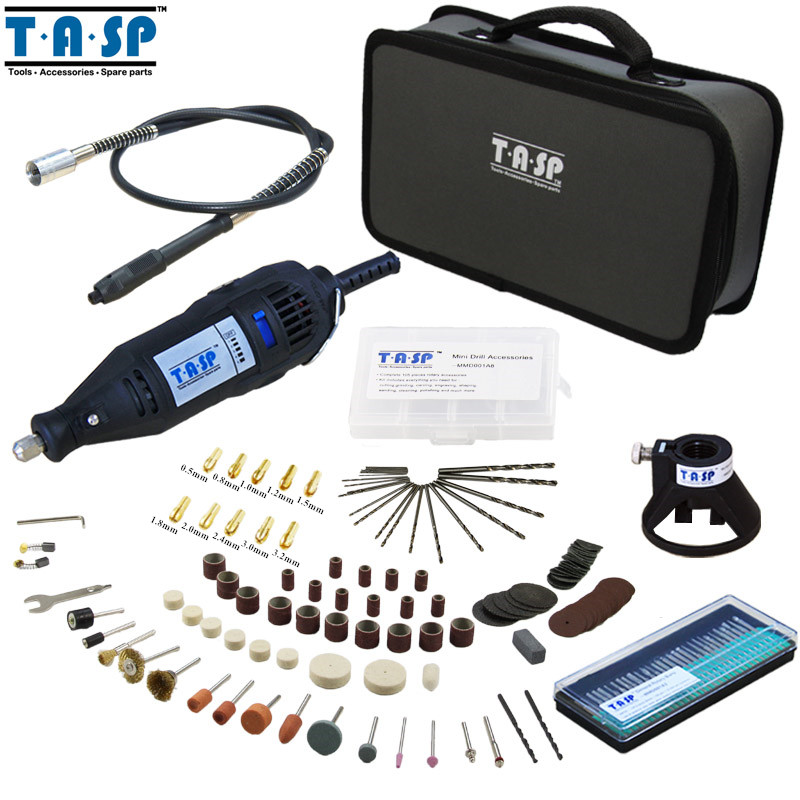 TASP 220V 130W Electric Dremel Rotary Tool Variable Speed Mini Drill with Flexible Shaft and 175PC Accessories Storage Bag tungfull 130w dremel style electric rotary tool variable speed mini drill with flexible shaft and 124pc accessories power tools