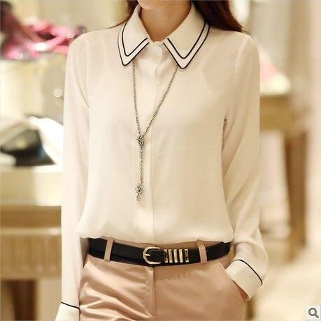 d9da1be8e7c52 الجديد 2014 الربيع السيدات الشيفون قميص طويل الأكمام سليم ol بلون أبيض سترة  كبيرة الحجم xxl الشيفون بلوزة النساء قمم