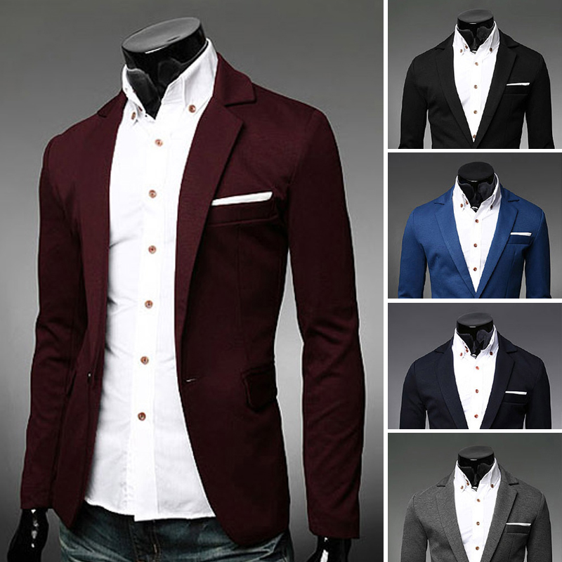 2014 New Men Jacket Male Slim Cloth One Button Blazer