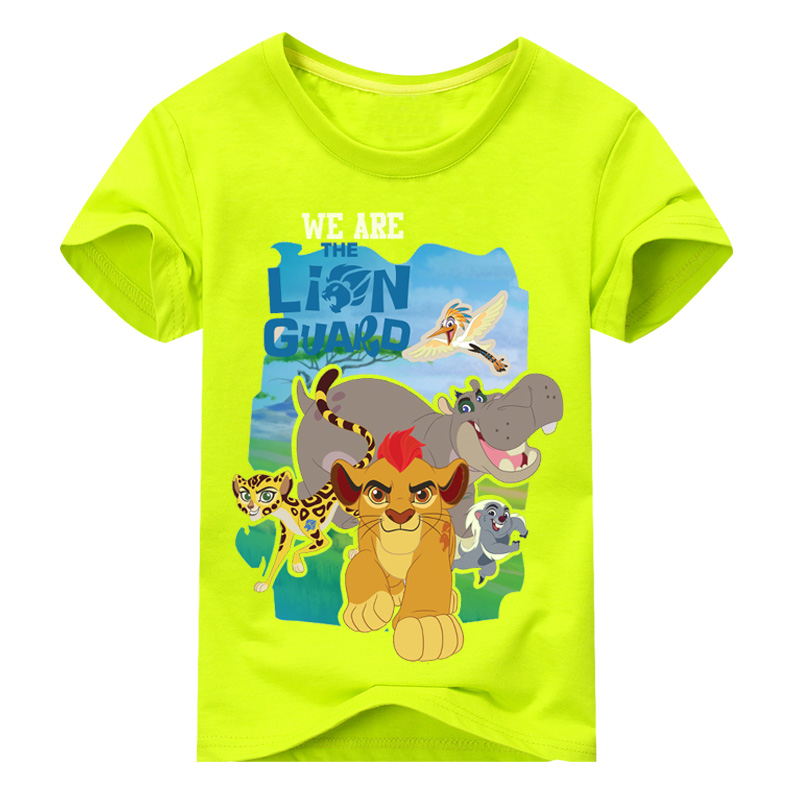 New Boy Girls Cartoon Simba Printing Short Sleeves T-shirts Children 100%Cotton Lion Print Tee Tops Clothes Kids Clothing TP024 peach print tee
