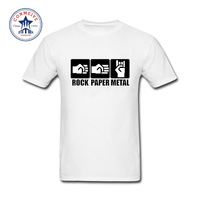 2017 Tops Unisex Rock Paper Metal Cotton Funny T Shirt For Men