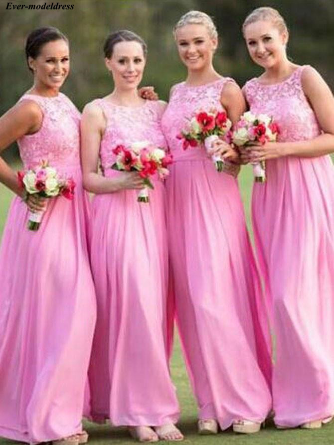 Lovely Pink   Bridesmaid     Dresses   Long Lace Chiffon A-Line Floor Length Side Zipper Maid Of Honor   Dresses   Prom   Dresses   Cheap