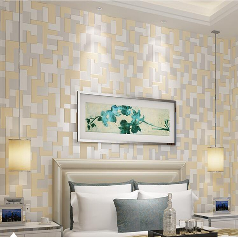 Modern Bedroom 3D Mosaic Lattice Wallpaper Roll Europe Embossed Flocking Wall paper Roll Living room TV Background Wallpaper shinehome black white cartoon car frames photo wallpaper 3d for kids room roll livingroom background murals rolls wall paper