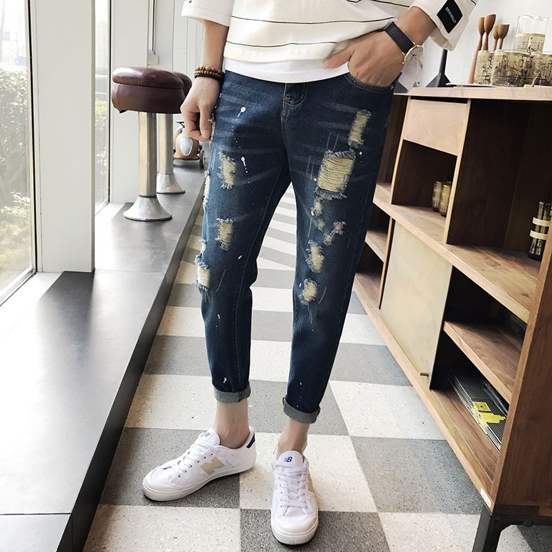 2017 Limited Real Zipper Fly Cotton And Summer Men's Nine Minutes Jeans Pants Break Of The Korean Personality Of 9 Haren Casual