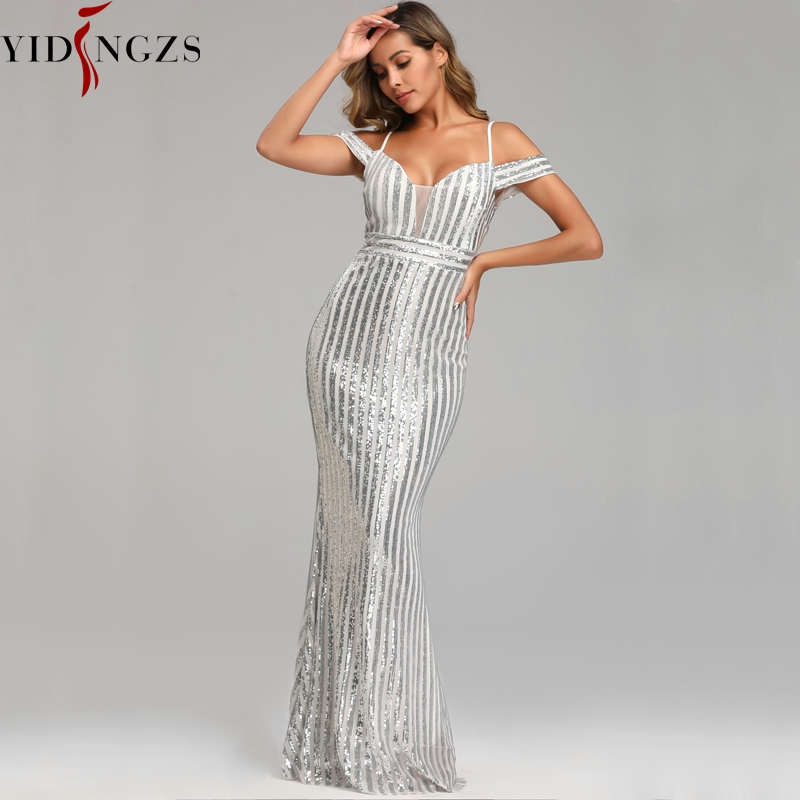 YIDINGZS Sexy Long Sequins Evening Dress Backless Evening Party Dress Gold/Sliver/Black YD9612