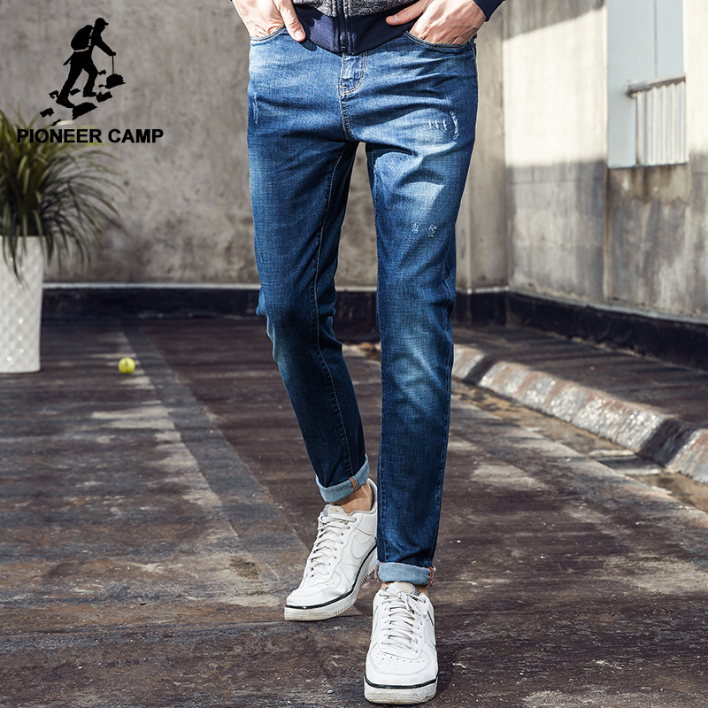 Pioneer Camp new thin summer jeans men brand-clothing blue straight denim pants male top quality stretch jeans pants ANZ703097 men s cowboy jeans fashion blue jeans pant men plus sizes regular slim fit denim jean pants male high quality brand jeans