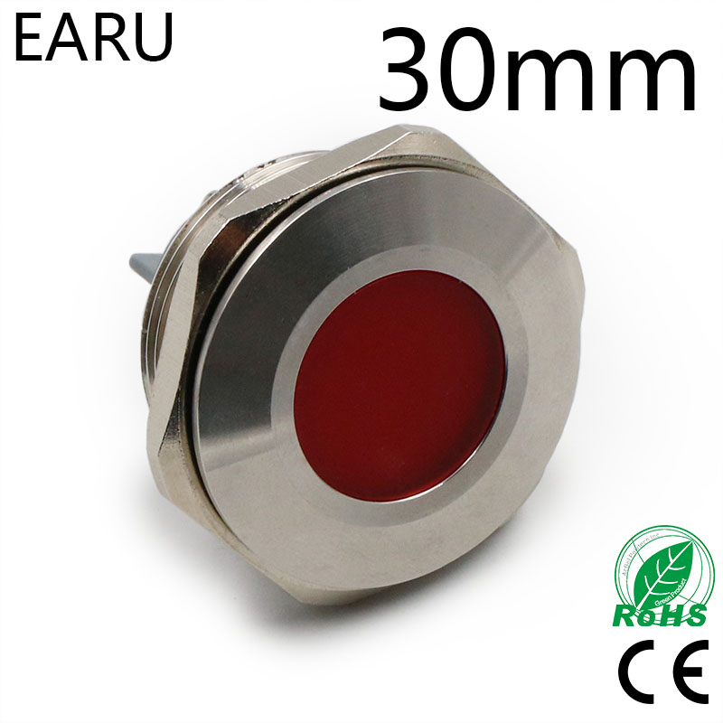 30mm IP67 Waterproof Metal LED Indicator Signal Pilot Warning Lamp Light 5V 12V 24V 110V 220V Red Green Blue Yellow White Boat