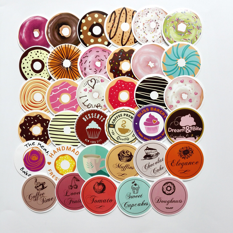A 35pcs Donuts Sealing waterproof sticker Gift posted Baking Decoration label Doodle coffee home bakery Unique