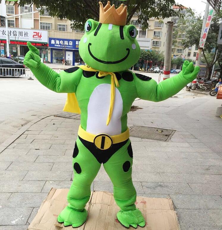2019 Hot Sale Frog Mascot Costume Cartoon Animal Prince Cosplay Costumes for Halloween Birthday Party Funning Dress