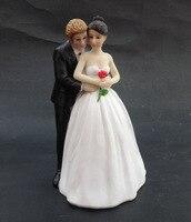 Boda romántica Wedding Cake Toppers Estatuilla Del Polyresin Resina Decoración del Regalo Del Amante de Las Parejas