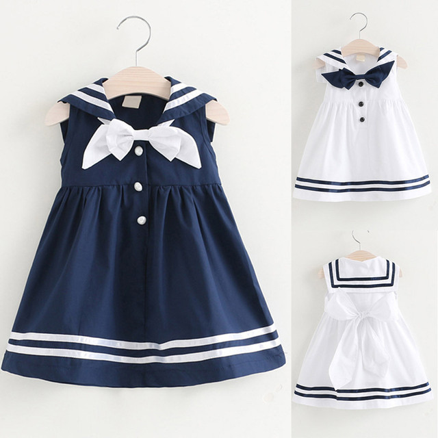 69ded6cce46da US $7.5 22% OFF|Girls Dress Toddler Kids Baby Girls Clothes Sleeveless Navy  Bowknot kids dresses for girls Party Princess Dresses Dropshipping-in ...
