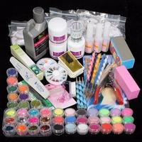 42 Acrylic Nail Art Tips Powder Liquid Brush Glitter Clipper Primer File Set Kit UV Gel