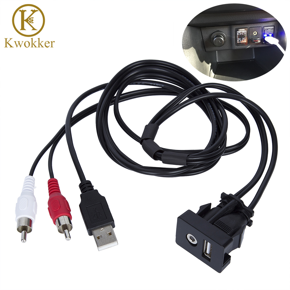 1 mt Auto RCA Kabel Adapter Schalter Mit 3,5mm Audio Jack AUX USB Kabel Extention Montieren Panel Montieren Kabel für Für VW Toyota