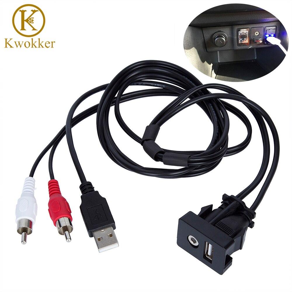 1 mt Auto RCA Kabel Adapter Schalter Mit 3,5mm Audio Jack AUX USB Kabel Extention Montieren Panel Montieren Kabel für Für VW Toyota