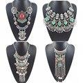 2016 de moda turquesa collares y pendiente de la vendimia maxi boho declaración choker collar de plata femenina grande neckalce de la manera de las mujeres