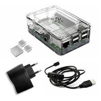 Elecrow Raspberry Pi 3 Kits 4 In 1 Clear Case EU Plug Power 2pcs Heatsinks And