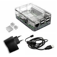 Wholesale prices Elecrow Raspberry Pi 3 Kits 4 In 1 EU Plug Power Supply 5V DC+ Clear Case+3pcs Heatsinks +Micro USB with On/Off Switch