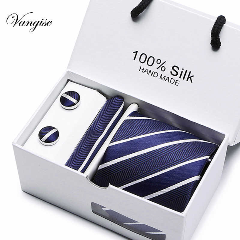 새로운 격자 무늬 남성 넥타이 세트 여분의 긴 크기 145cm * 8cm 넥타이 네이비 블루 페이즐리 실크 자카드 직물 넥타이 정장 웨딩 파티