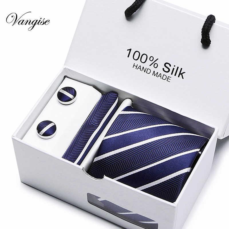 Nouveau Plaid hommes cravates ensemble Extra longue taille 145cm * 7.5cm cravate bleu marine Paisley soie Jacquard tissé cou cravate costume fête de mariage