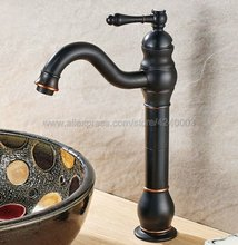 Black Oil Rubbed Brass Deck Mount Swivel Spout Bathroom / Kitchen and Bar Sink Faucet - One Hole Handle Knf300