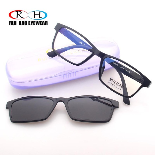2edbb32b112 Rui Hao Eyewear Black Optical Eyeglasses Frame Men Prescription Glasses  Frames Brand Grey Driving Polarized Sunglasses Clip on