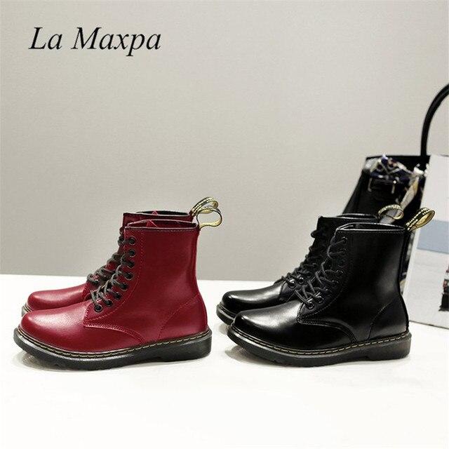 La MaxPa Kadın Çizmeler Doc Martins 2018 İngiliz Dr Martins Vintage Klasik Hakiki Martin Çizmeler Kalın Topuk Motosiklet Bayan Ayakkabı