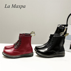 La MaxPa Women Boots Doc Martins 2018 British Dr Martins Vintage Classic Genuine Martin Boots Thick Heel Motorcycle Lady Shoes